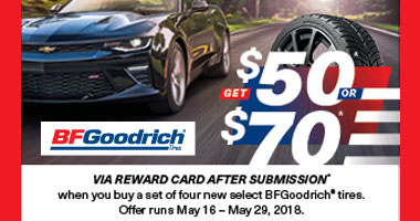 BFGoodrich Tires -Up to $70 Rewards Card