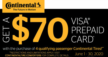 Continental Tires $70 VISA Rebate