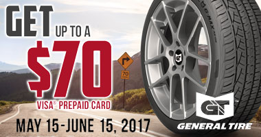 General Tires $70 Prepaid Visa Card