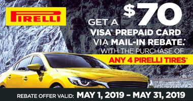Pirelli Tires $70 VISA Rebate
