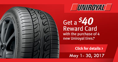 Uniroyal Tires $40 Rewards Card Rebate