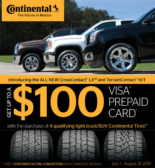 Continental AT Tires $100 VISA Rewards
